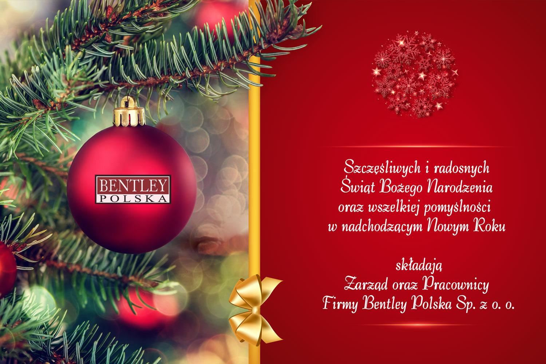 Życzenia świąteczne od firmy Bentley Polska Sp. z o.o.